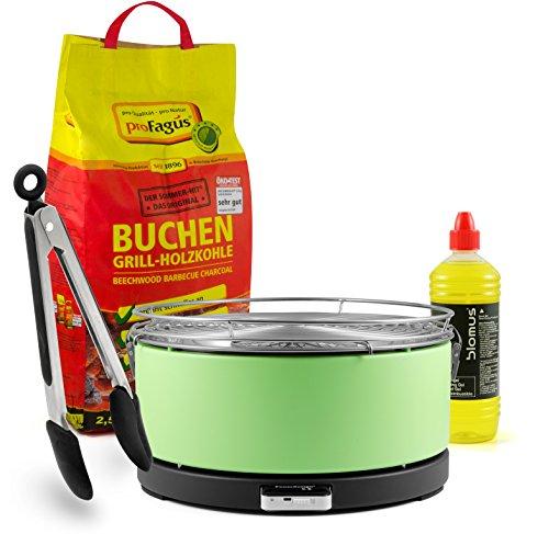 'Mayon' Feuerdesign Holzkohle Tischgrill, GRÜN, inkl. 2,5kg Grillkohle, 1L Brennpaste & Gratis Grillzange