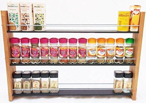 Oak Slate Design Chêne Ardoise Motif. à épices/Herbes de. 3 étages, 39 Bocal - Moderne Style Contemporain - Deep étagères pour de Plus Grands Pots à épices, boîtes, Kilner bocaux