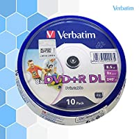 ‏‪Verbatim printable DVD+R DL 8X 8.5G D9 10 piece blank burned disc‬‏