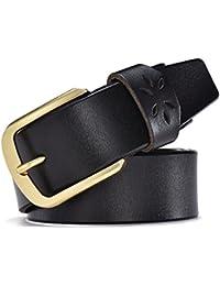 Weillcce Cinturones de hombre 100% piel jeans Cinturón de hebilla de  alfiler Corte desprendible cinturones 597e326ab564