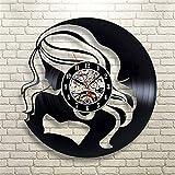 JGcabin Horloge Murale De Disque Vinyle Super Multi-Style De 12 Pouces, Cadeau pour Les Amateurs De Vinyle Belle Fille 30 * 30 * 0.2cm
