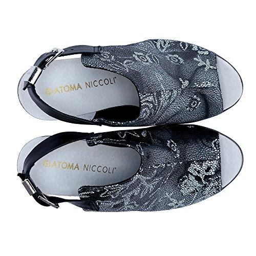 Kick Footwear - Womens Wedge Tacchi Comodi Slingback Sandali Di Cuoio Nero