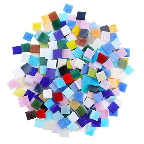 Glas Mosaiksteine (800 Stk) - 1x1 cm Glassteine Bunt Mosaiksteine Zum Basteln Glasnuggets Mosaik Bastelset als Wohnaccessoire, Deko Steine für Wand, Teller, Tasse, Blumentopf, Spiegel - 0,3 cm dick