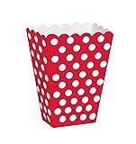 Unique Party 59292 - Scatole Popcorn Sorpresa a Pois Rossi, Confezione da 8