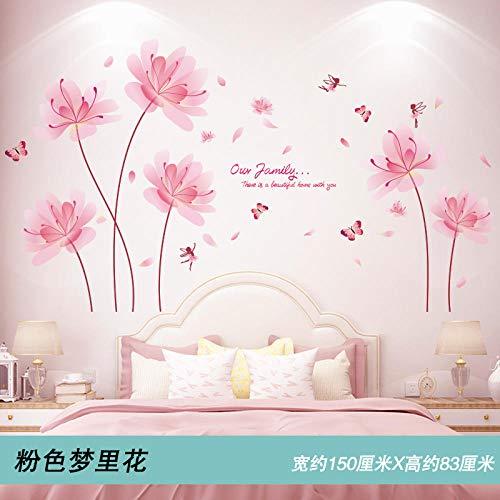 3D Stereo Schlafzimmer Wandaufkleber Wanddekoration Aufkleber Warme Wandaufkleber Home Dress Up Hintergrund Wand Selbstklebende Tapete Rosa Traum Blume