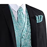 L & L Herren Paisley-Design Weste Weste und Krawatte Taschentuch Set für Anzug - UK - Türkis, Small