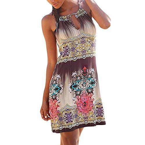 en Neckholder Boho Drucken ärmellose Lässige Mini Beachwear Kleid Sommerkleid Mehrfarbig L ()