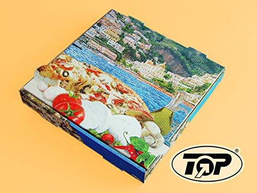 "100 Pizzakartons Pizzaboxen Pizzaschachteln Pizzaverpackung 31x31x4,2cm Motiv ""Mittelmeerküste"" Kraft Positano NYC"