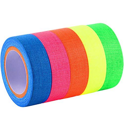 Spike Tape fluoreszierende Klebebänder Gaffer Band UV Blacklight reaktive Neon Bänder für Parteien Kunst Handwerk Dekorationen, 5 Farben (5 Rolle)