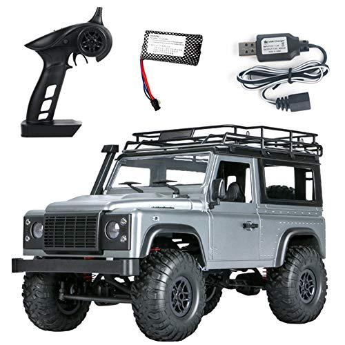 LYXMY 2,4 G 1/12 4 WD RTR Crawler RC Auto Telecomando Veicolo ad Alta velocità luci LED Fuori Strada, Bambini e Adulti, Batteria di Grande capacità, Grigio.