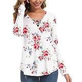 Gikou Femme Chic T-Shirt Automne et Hiver Floral Imprimé Manches Longues Tops Casual...