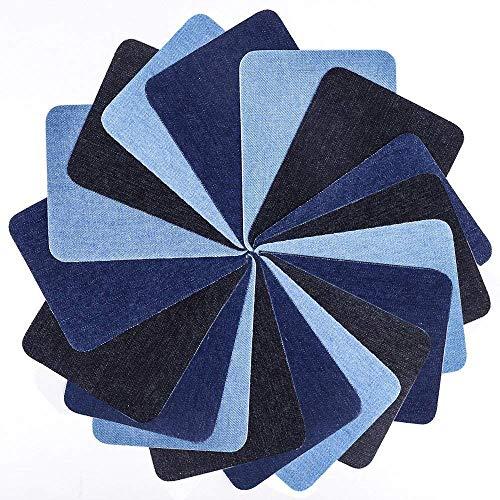 Patches zum Aufbügeln, YKEZHU 18 Stück 3 Farben Denim Baumwolle Patches Bügeleisen Reparatursatz, Aufbügelflicken Bügelflicken, Dekoration für Jeans Kleidung