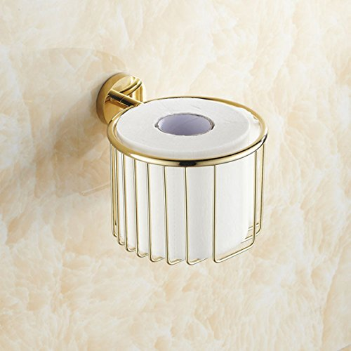 Voll-Kupfer-Gold Bad Rollenhalter Toilettenpapier Handtücher Korb