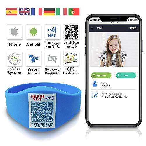 QR4g.com GPS. Pulsera identificativa con Tecnología QR NFC GPS para Niños (Azul)