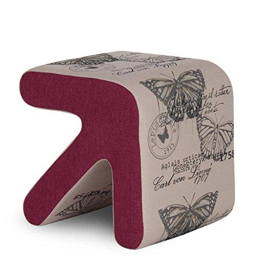HETAO Kreativ Holz Pfeilhocker Sofa Hocker Bettende Hocker Niedriger Stuhl Wechselnde Schuhe Hocker Haushalt Klein 33 * 33 * 31cm (groß 40 * 40 * 36cm) , fabric - butterfly printing - trumpet -