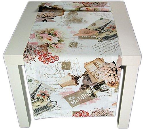 Hossner Tischdecke 40 x 100 cm Tamara - Vintage - Tischläufer Decke Baumwolldecke (40 x 100 cm) -