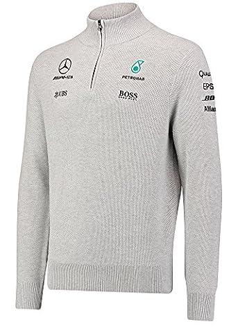 2017Mercedes-amg F1Lewis Hamilton Formula 1Team 1/2zip Pull tricoté Gris, gris