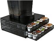 Mind Reader MTRAY-BLK Capacity K-Cup Coffee Pod Storage Organizer Drawer Metal Mesh, Black