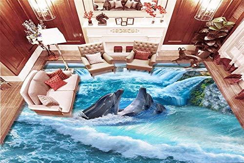 Yirenfeng Selbstklebende Wandbild Tapete Aufkleber 3 Ultra High Definition Wasserfall Dolphin Wohnzimmer Küche 3D Boden Aufkleber Video Wandverkleidung-450X300CM Ultra High Definition Video
