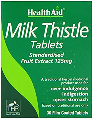 Health Aid Milk Thistle Fruit Extract Standardiesd 125mg 30 Film Tablets - 2 Pack by Health Aid