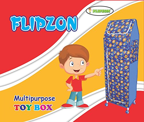 Flipzon Multipurpose 6 Shelve Foldable Baby Wardrobe/Toy Box (Jungle), Blue