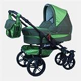 Chilly Kids Matrix Tiger 4 in 1 Cochecito Combinado (asiento del coche con la base ISOFIX, cubierta para la lluvia, mosquitero, ruedas giratorias 62 colores)