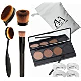 VALUE MAKERS 4 In 1 Pro Cosmetics Set-4 Color Eyebrow Powder Makeup Palette-Eye Brows Stencils-Toothbrush Curve Makeup Brushes-Liquid Foundation Brush-Make Up Kit+Portable Bag (Eyebrow Powder+Brush)