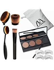VALUE MAKERS 4 In 1 Pro Cosmetics Set-4 Color Eyebrow Powder Makeup Palette-Eye Brows Stencils-Toothbrush Curve Makeup Brushes-Liquid Foundation