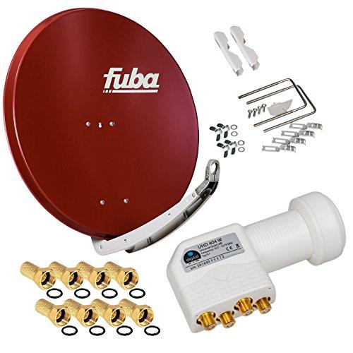 FUBA 4 Teilnehmer Digital SAT Anlage DAA850R Ziegelrot + Hochwertiger Quad LNB weiß + 8 Vergoldete F-Stecker