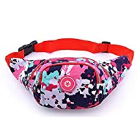 iSuperb® Waist Pack Canvas 4-Zipper Fanny Pack Waist Bag with Adjustable Strap for Running Fitness Cycling Hiking Travel Camping Sports (Colorful)