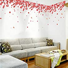UberLyfe Shower of Red Flowers Wall Sticker Size 3 (Wall Covering Area: 42cm x 135cm) - WS-1014