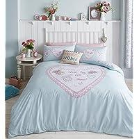 Catherine Lansfield-Asciugamano a forma di cuore, con pannelli Super King Quilt, Set copripiumino con federe, colore: uovo di anatra