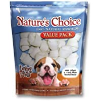 Loving Pets Nature 's Choice 100-percent Natural Rawhide White Knotted Bones Dog Treat, 4–5-inches, 15/Pack by Loving Pets