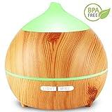 Aroma Diffuser, Avaspot 250ml Holzmaserung Aromatherapie Diffuser Ultraschall Luftbefeuchter Öle Diffusor Mit Niedrig Wasser Automatische Abschaltung, 7 Farbe LED Perfekt für Zuhause Yoga Spa
