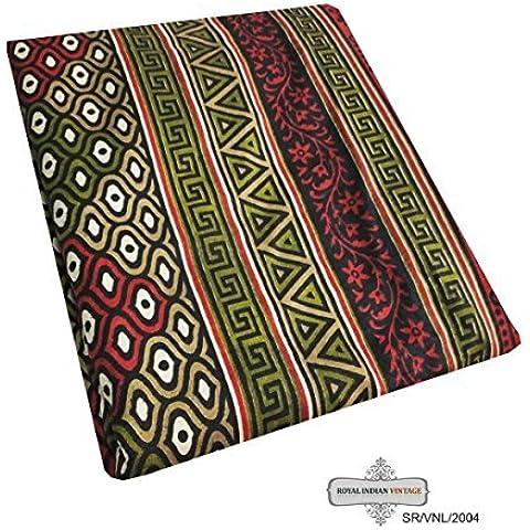sari vendimia decoración del hogar de la tela impresa indio abstracto cortina mezcla paño de seda de costura 5YD utiliza artesanía de tela reciclada mujeres sari de color beige envolver el vestido hecho a
