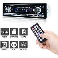 Radio del coche MP3 con Bluetooth de POMILE, radio del coche de Single Din Reproductor de MP3 Reproductor de MP3 Apple iPod / iPhone Control, altavoz y micrófono integrado