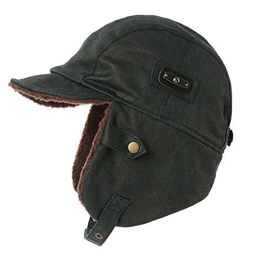 SIGGI schwarzblaue warme Trappermütze mit Kunstleder Bomber Hut Unisex Fliegermütze Fellmütze Erwachsenen für Herren