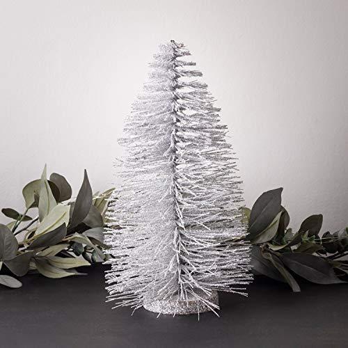 Lights4fun Mini Deko Weihnachtsbaum Silber glitzernd