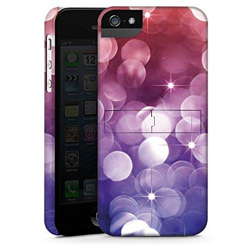 Apple iPhone 5 Housse étui coque protection Étoiles Paillettes Lilas CasStandup blanc