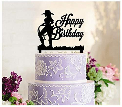 fsatz, Cupcake-Topper, Jahrestag, Hochzeit, Geburtstag, Party, schöne Cowgirls Western-Silhouette ()