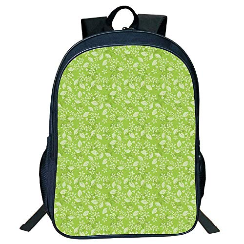 HOJJP Schultasche Stylish Unisex School Students Green,Flourishing Spring Flowers Summer Meadow Themed Graphic Flora Print,Apple Green Pale Green Kids, - Spring Meadow Green