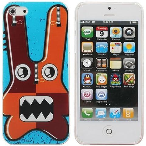 Bastante largo del oído Conejo Patrón cubierta del estuche rígido para el iPhone 5 5G.