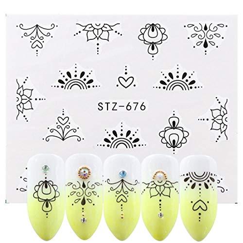 NCKLY Nagel-Aufkleber 1 Stücke Pantoffel Aufkleber Gradienten Lotus Applique Lila Blume Reben Muster Nail Art Wasserzeichen Tattoo Dekoration -