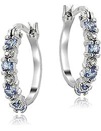 Sterling Silver Genuine Tanzanite and Diamond Accent Hoop Earrings