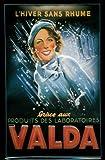 Blechschild Valda Frau im Regen Schild Nostalgieschild