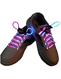 LED Cordones - TOOGOO(R) Intermitente Bright LED Cordones de los Zapatos Cordones Luminosos de 80cm Amarillo rojo