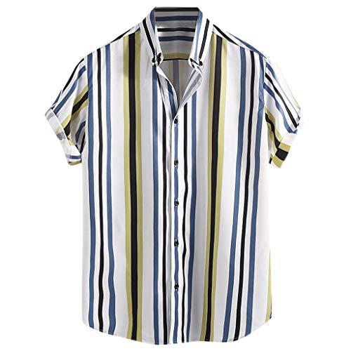 Menswear Summer Fashion Kurzarmhemd mit Ethnic Print Kurzarm-T-Shirt mit lässigem Revers Herren Kurzarm-Streifenhemd Twill Hooded Fleece-sweatshirt