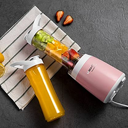 Mini-Standmixer-LINKChef-300W-Elektrisch-Smoothie-Maker-mit-Zwei-BPA-freien-Tragbare-Flschchen-500ml-Smoothiemaker-Rosa-PB-6530-3-Jahre-Garantiezeit