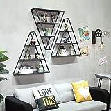 Health UK Shelf- Loft Wand Schmiedeeisen Regal Wohnzimmer Wandbehang Lagerregal Retro Dreieck Rack welcome (Farbe : Drei)
