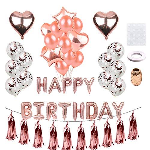Fanspack Happy Birthday Ballons Banner, Geburtstag Dekoration Rosegold 10 Latex Ballons,10 Rosegold Konfetti Luftballons,4 Sterne Herz Folie Ballons,10 Rosegold Tassel,2 Ribbon,20 Klebepunkt